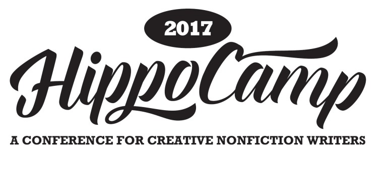 t-shirt logo HippoCamp in flowy cursive font with 2017 above in circle and tagline below, a conference for creative nonfiction writers