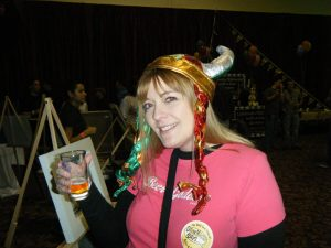 donna talarico in viking hat and beer goddess t-shirt