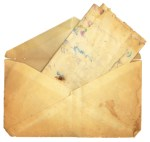 Vintage Envelope and Paper stained from water
