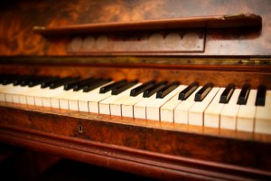 Antique piano close up