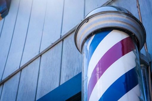 barber pole close up