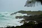 hurricane winds making waves in tropical beach in Bermuda