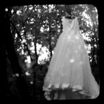 white wedding dress hanging up in the woods, kind of eerie