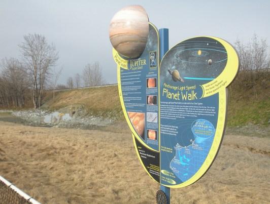 sign for anchorage alaska plant walk has jupiter on it