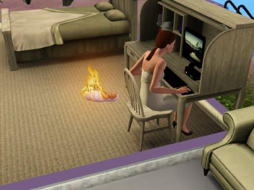 Image result for the sims baby on fire