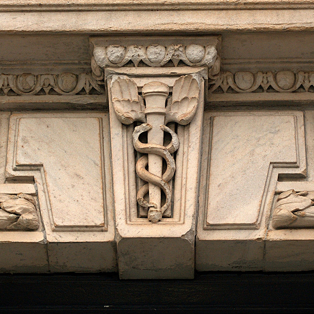 caduceus symbol on building in NYC