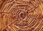 close up of bottom of straw basket