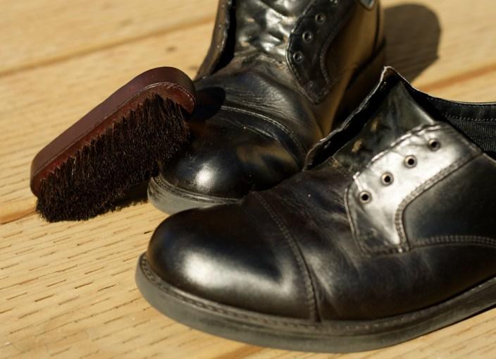 shined black shoes
