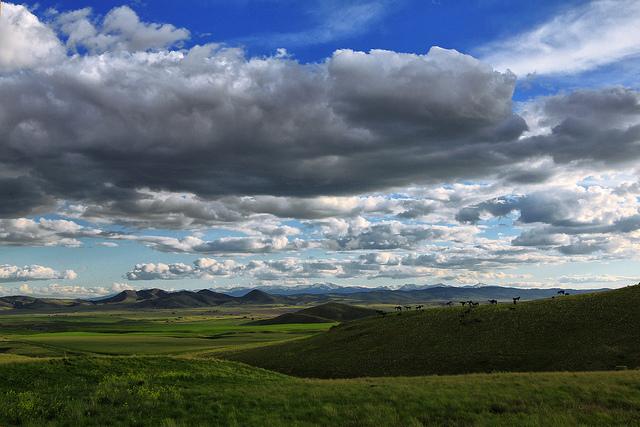 view of Montana landscape - big sky, some mountains