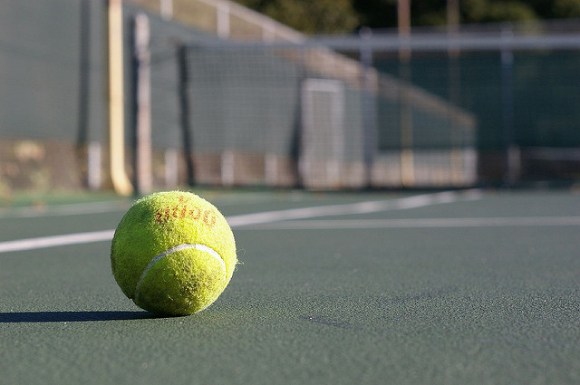 tennis ball close-up on court