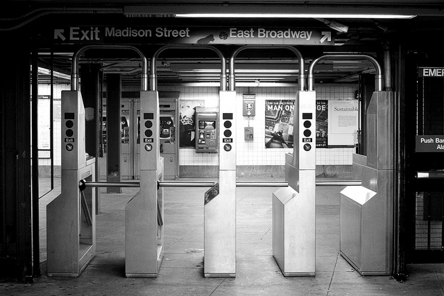shot of turnstyles in subway near broadway station
