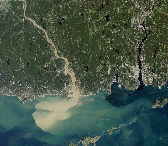 areil satellite view of connecticutt, showing rivers into ocean