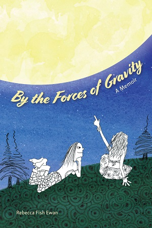 by the forces of gravity cover two teenage girls on grass, one pointing at bright moon