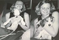 collage of author with Bowie the dog from story