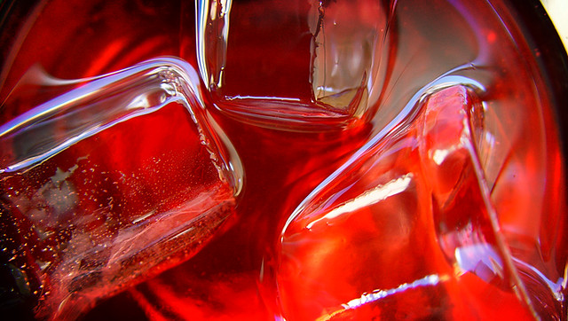 close-up of ice in a liquor glass