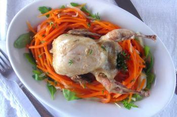 Braised Quail on Fennel & Carrot Salad Nest Pressure Cooker Recipe