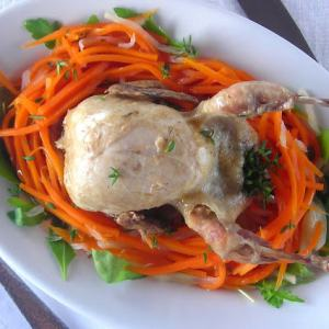 Braised Quail on Fennel & Carrot Salad Nest Pressure Cooker Recipe
