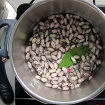 getting ready to pressure cook fresh beans