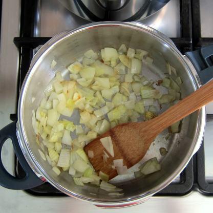 Saute the onion until soft.