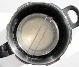 White rice steamed in the pressure cooker