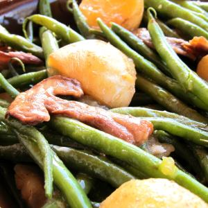 Pressure Cooked Green Warm Salad with Mushrooms and Potatoes