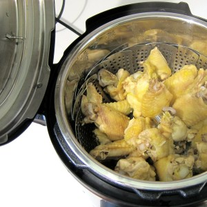 Steamed Pressure Cooker Chicken Wings.