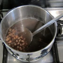 Pressure cooked borlotti beans.