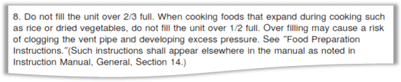 Excerpt of UL-136 Rating Guidelines for Pressure Cookers 2009, section 15 Important safeguards