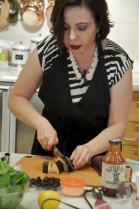 Slicing eggplant for the dip - during pressure cooker demonstration in New York.