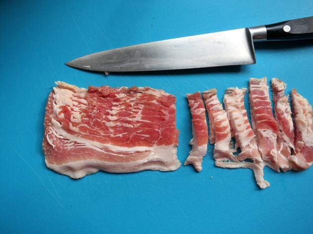 Slice bacon into lardons