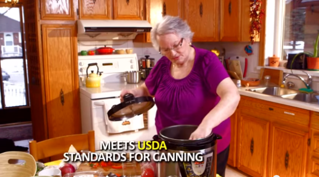 "This multi-cooker infomercial shows an actress putting jars in the cooker with the words ""Meets USDA Standards for Canning."" The National Center for Home Food Preservation says it DOES NOT!"