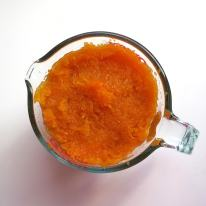 Jam pulp into 2-cup measuring cup (or weigh) before adding to mixture.