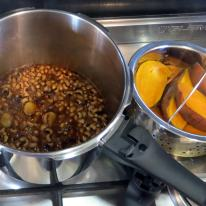 After pressure cooking - savory beans and tender potatoes.
