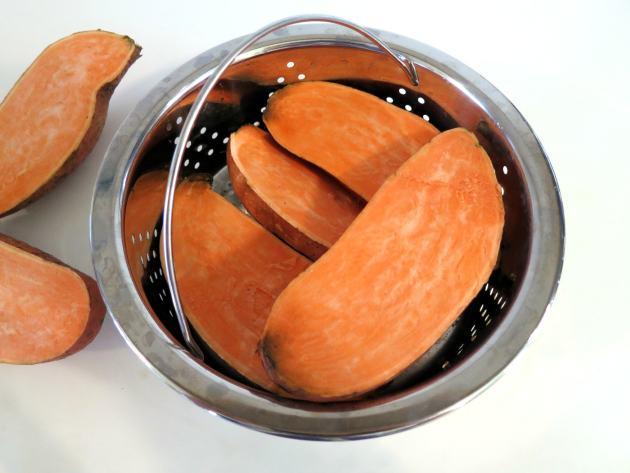 Sweet Potatoes in Steamer Basket