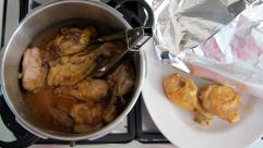 Transfer pressure cooker chicken to heat-proof dish and cover tightly