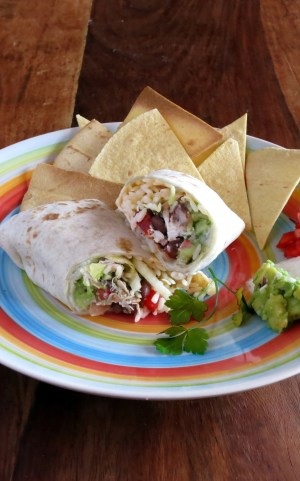 Pressure Cooker Chicken, Black Bean & Rice Burrito!