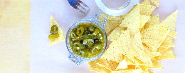quick-pickled green jalapenos