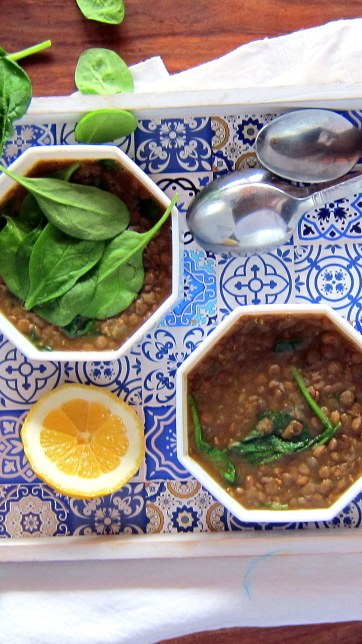Pressure Cooker / Instant Pot Lentil and Spinach Soup Recipe