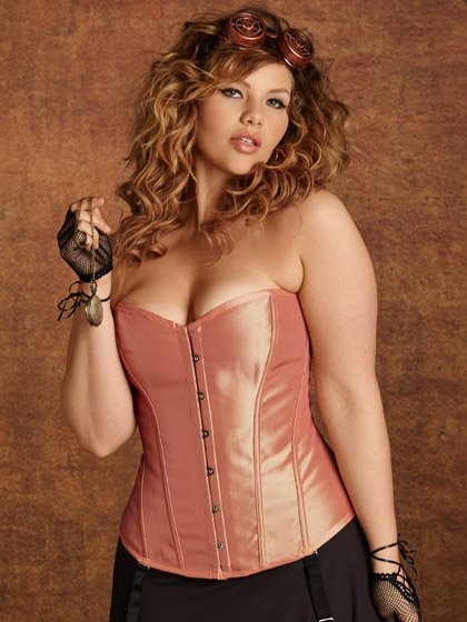 Florence Taffeta Corset 3X, Rose In Gold By Hips & Curves