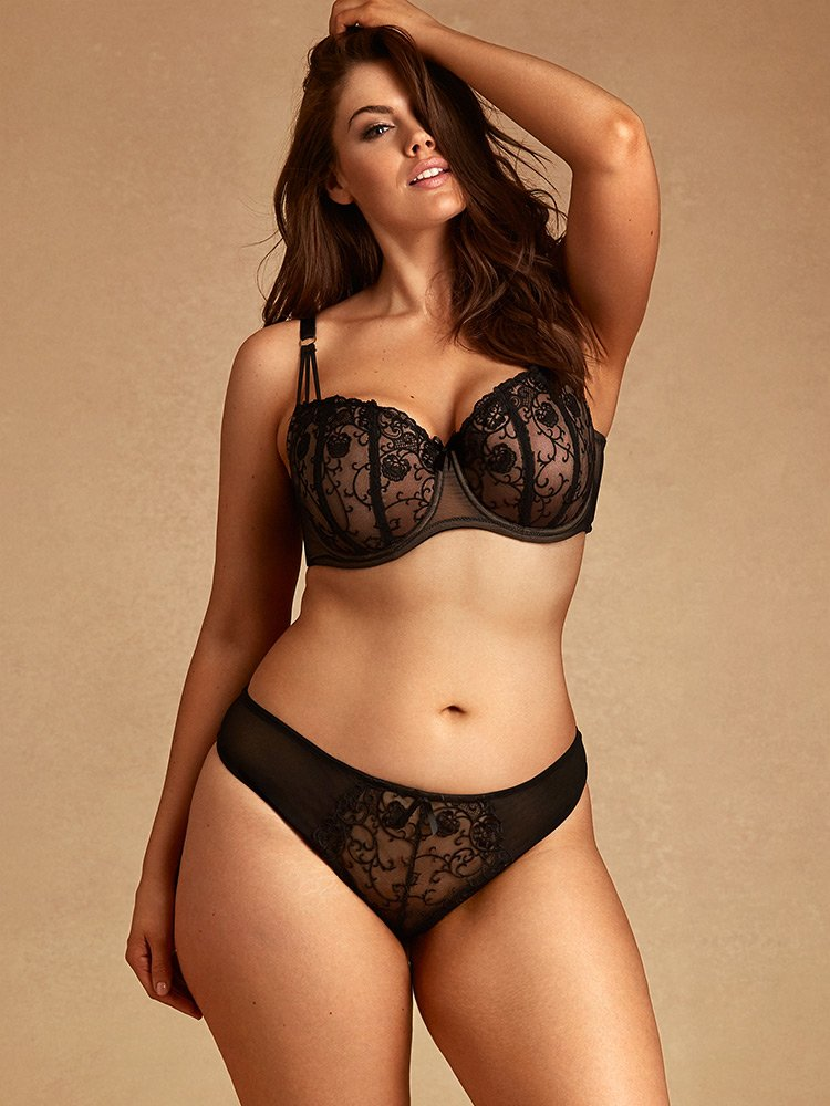 Tatiana Floral Embroidered Bikini 6X In Black By Hips & Curves