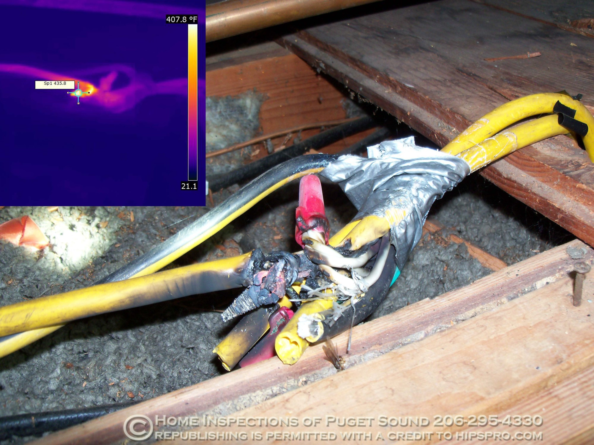 hight resolution of home inspection melted wire in attic 435 degrees