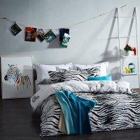Stylish Zebra Print Shabby Chic Twin, Full Size Bedding ...
