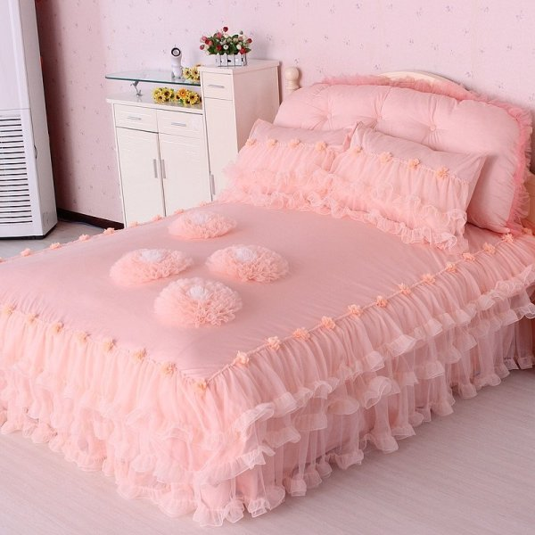 Cotton Elegant Coral Pink Applique Flower Romantic