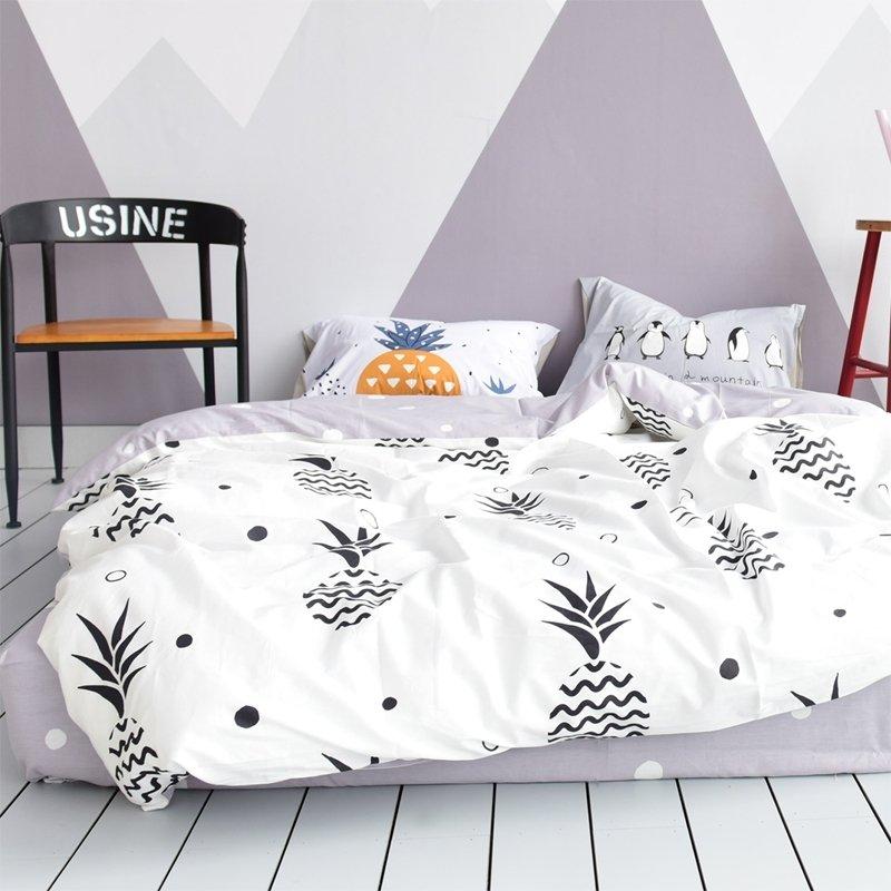 Black White And Gray Pineapple Print Rustic Chic Shabby