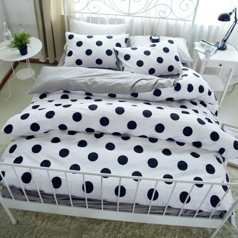 Contemporary Modern Chic Black White And Light Gray Polka