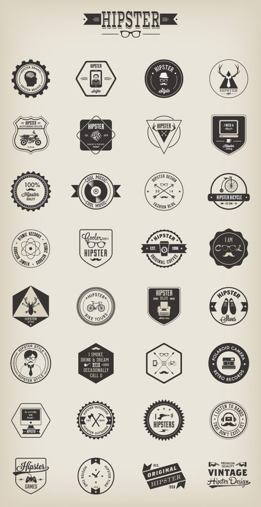Free Vector Hipster Badge Template Set