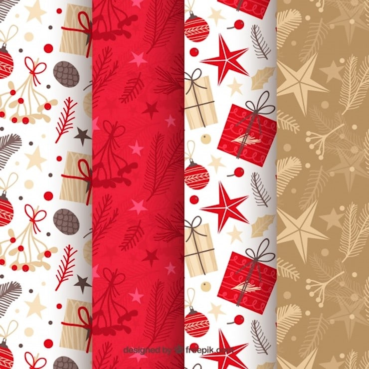 christmas patterns in red beige and white