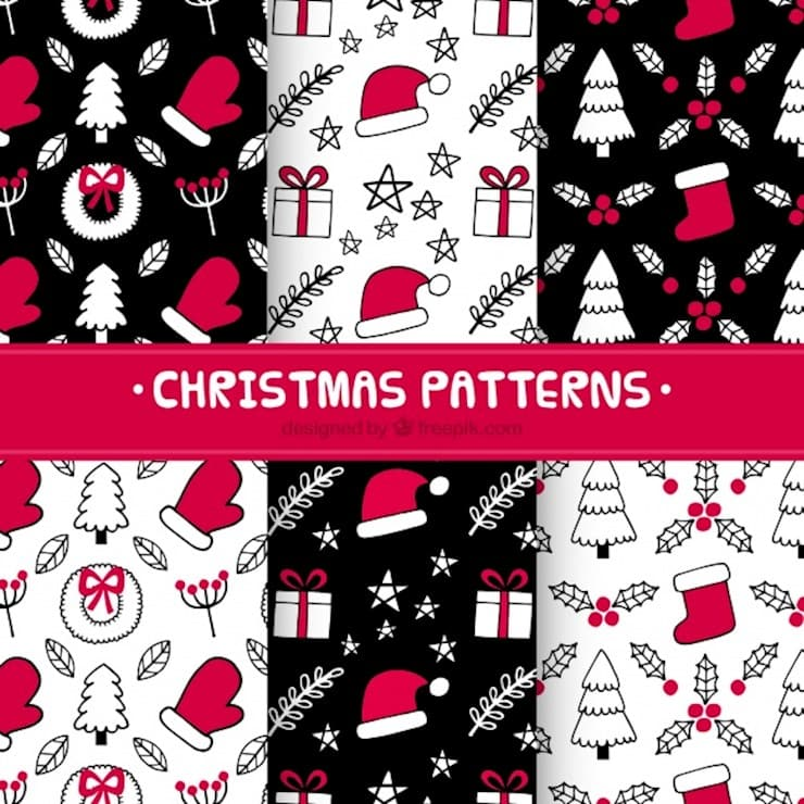 hand drawn christmas patterns in red and black