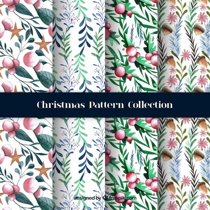 watercolor christmas patterns with natural elements