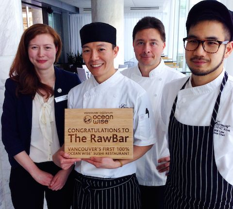 RawBar's Ocean Wise warriors: R-L, RawBar sous chef Will Lew, Fairmont Pacific Rim executive chef Darren Brown, RawBar Sushi Chef Tak Omi, and Ocean Wise representative Teddy Geach